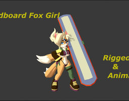 3D asset Sandboard Fox Girl