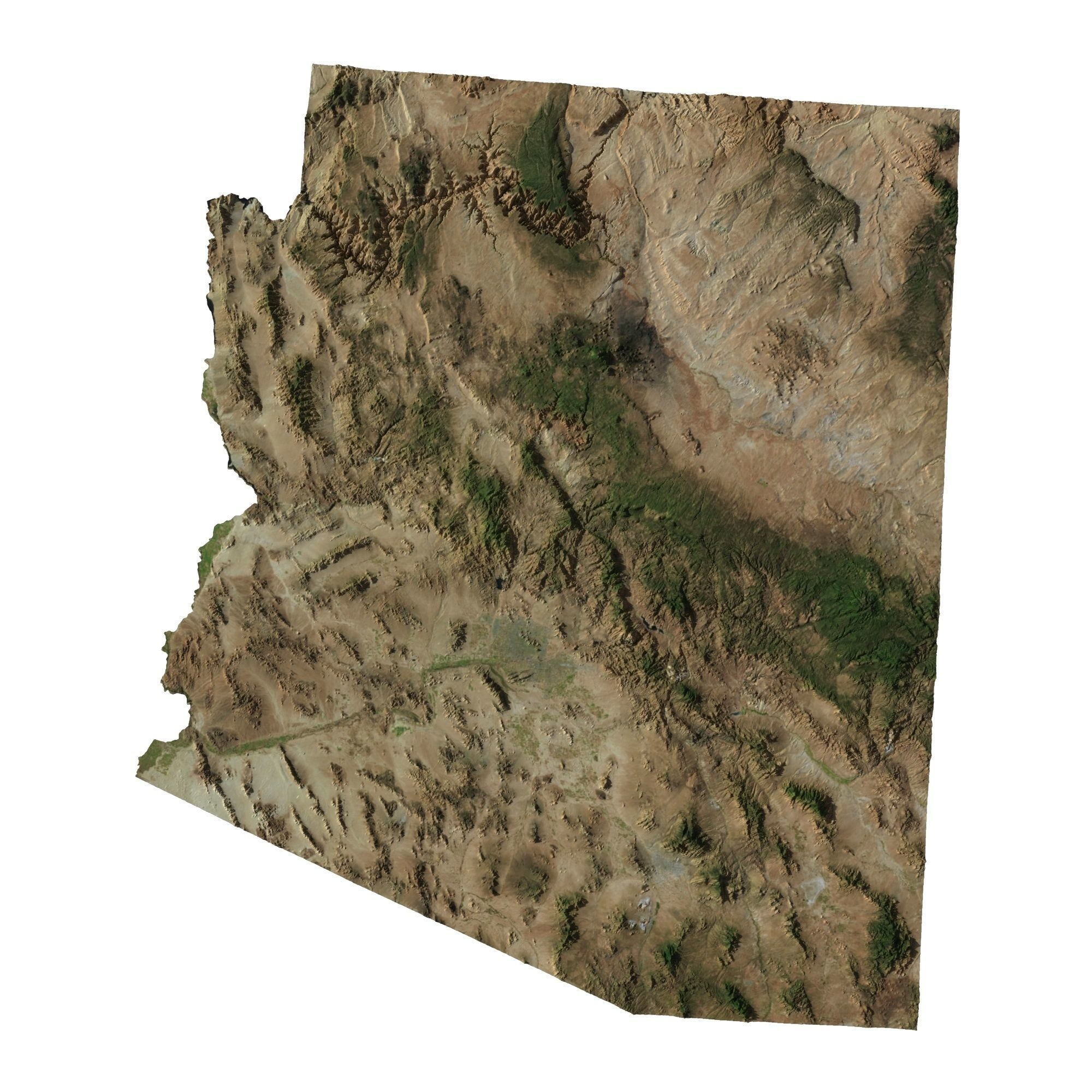High Detailed Relief Map Of Arizona 3d Model