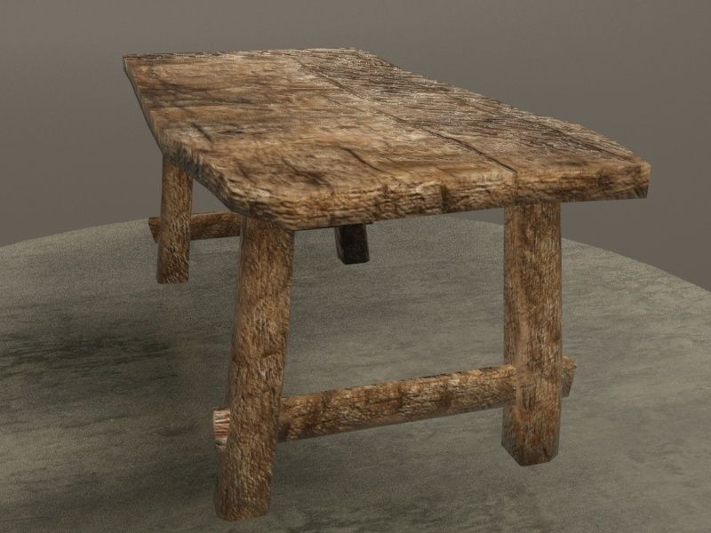 Exceptional ... Old Table 3d Model Low Poly Obj Fbx 8 ...