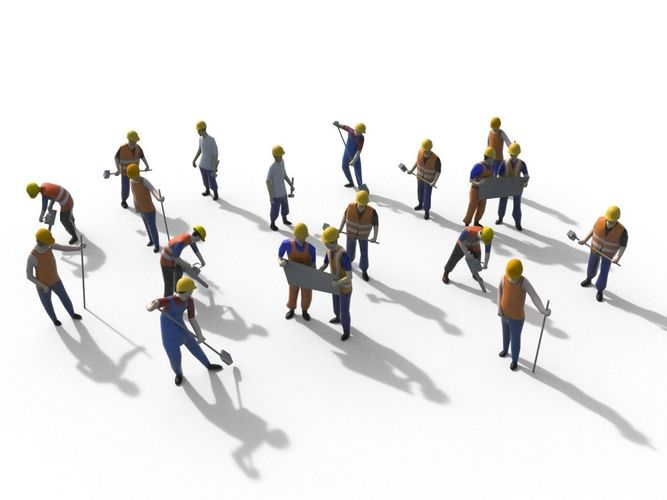 low poly workers packs 3d model max obj mtl 3ds fbx 1