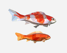 Animated Low Poly Art Flock Carp Koi Fish 3D asset