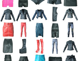 3D model 25 Shiny Clothing Items Skirts Boots Jackets