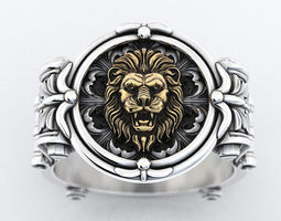 3D printable model An ancient lions ring with patterns 373