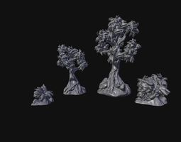 3D printable model Trees and Bushes Scenery Set