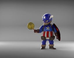 3d print model chubby captain america