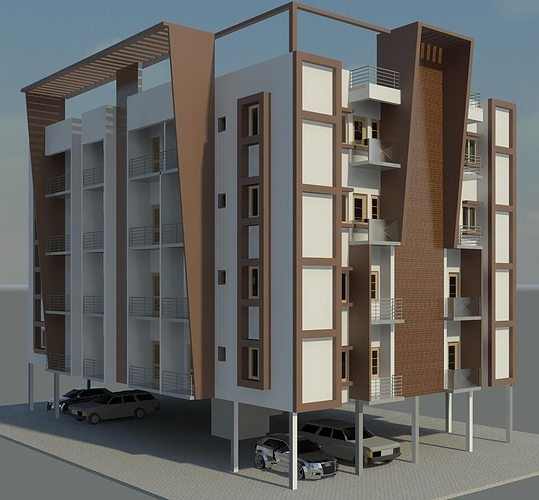Apartment ext free 3d model rvt for New model apartment