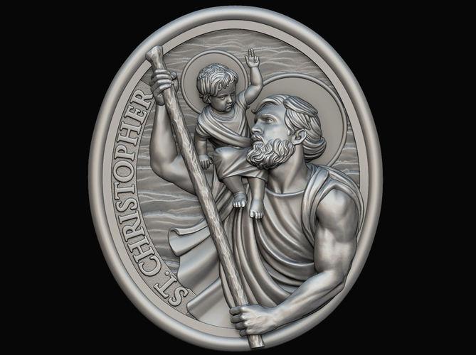 saint christopher medallion 3d model obj mtl stl 1