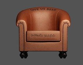 Leather Bar Armchair 3D model hobnail