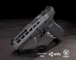 3D model low-poly Glock 17