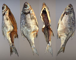 Photorealistic 3Dscan of dried open fish low-poly