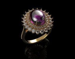 3D print model Pink Cabochon Oval Cut Sapphire Ring And 1
