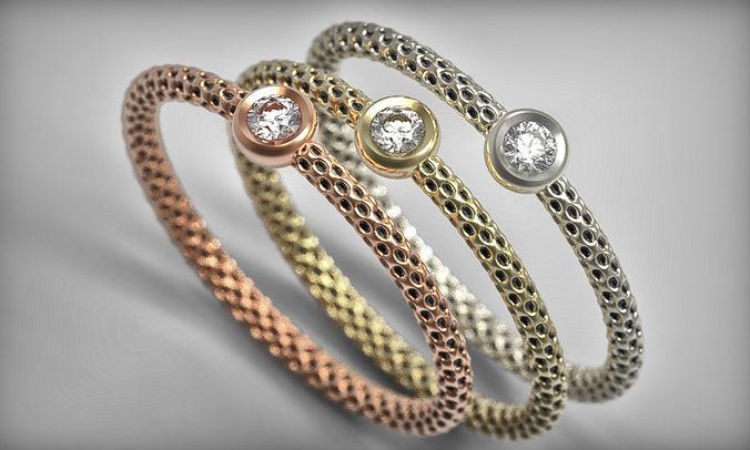 unique minimalist diamond ring 3d print model gold pattern 3d model obj mtl fbx stl 3dm 1