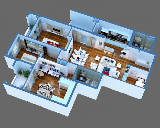 Superbe 3D Model Luxury Detailed House Cutaway 3D Model