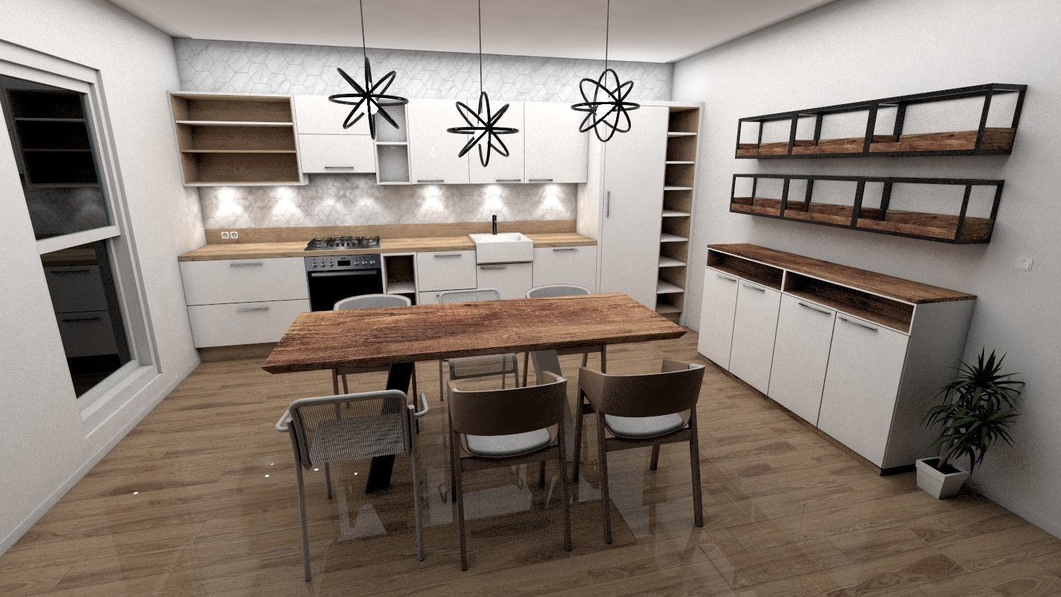 3D asset modern Scandinavian style kitchen | CGTrader on Modern Model Kitchen  id=87919