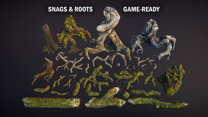 snags and roots  3d model fbx unitypackage prefab mat uasset 1