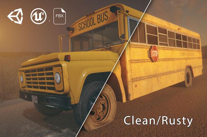 hq retro school bus 3d model low-poly rigged animated fbx tga unitypackage prefab mat uasset 1