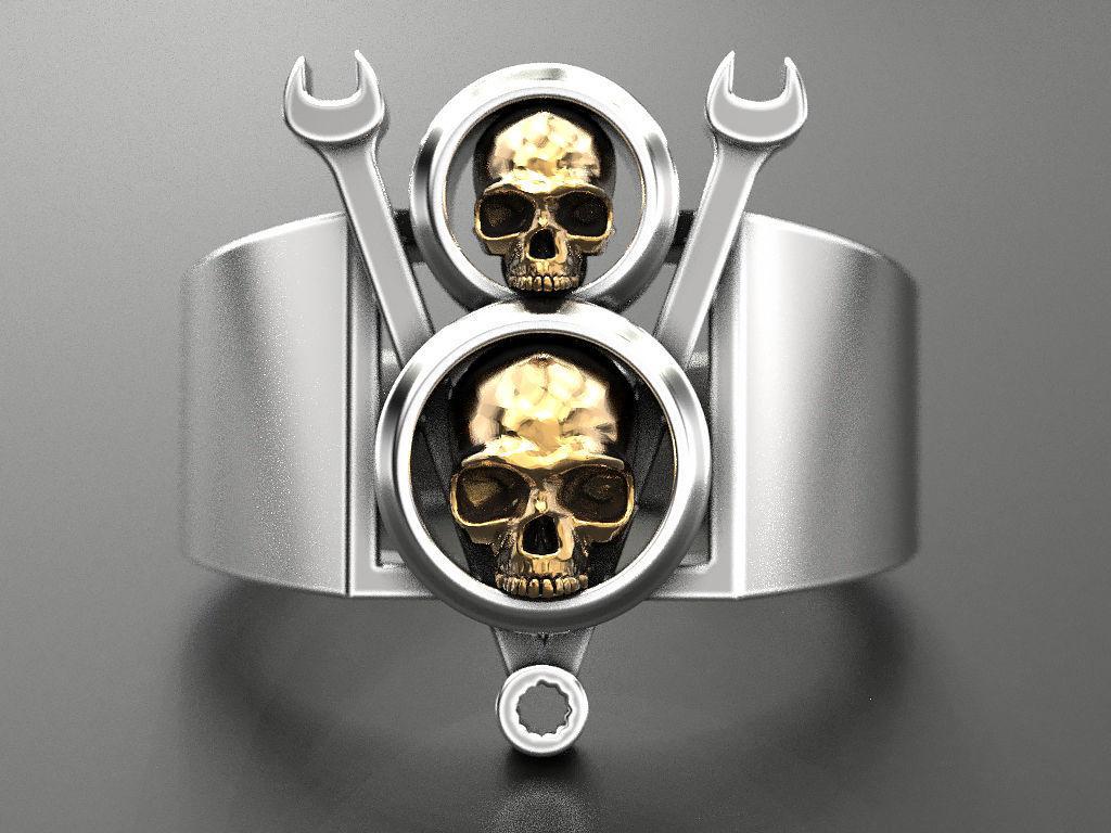 Ring V8 Skull