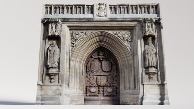 photogrammetry cathedral main door 3d model low-poly obj fbx stl blend dae 1