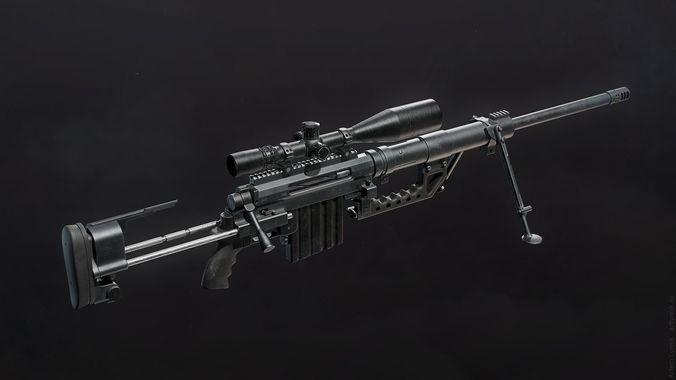 cheytac m200 intervention sniper rifle 3d model low-poly max obj 3ds fbx tga unitypackage 1