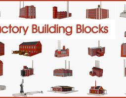 Factory building industrial 3D model
