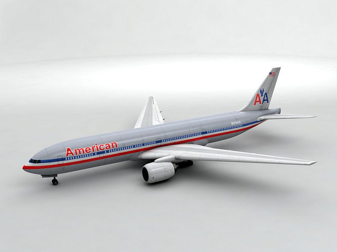 boeing 777 airliner - american airlines 3d model low-poly max obj mtl 3ds dxf stl wrl wrz 1