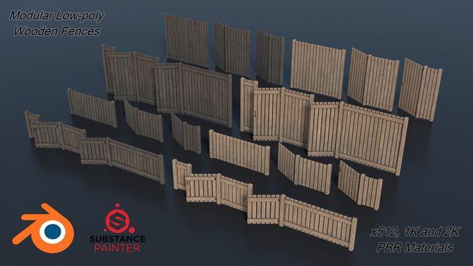 low-poly modular wooden fence set pbr 3d model obj mtl 3ds fbx stl blend dae 1