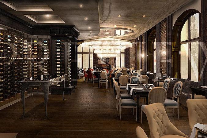 wine restaurant 3d model max tga 1