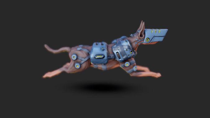 mech dog 3d model blend gltf glb 1