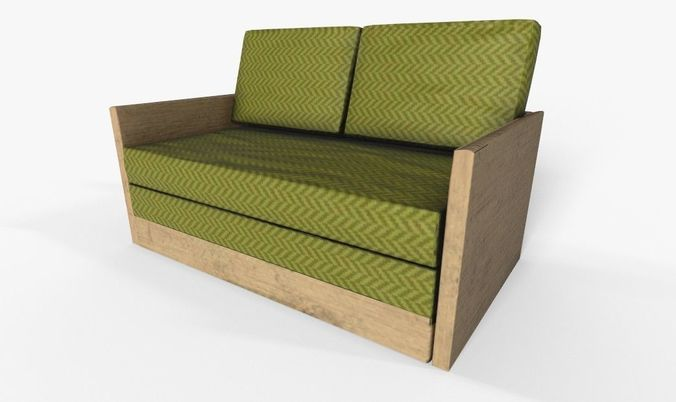 wooden 2 seater couch-sofa 3d model low-poly obj mtl fbx 1
