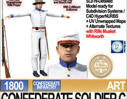 Civil War Confederate Soldier C Infantry Sharpshooter 3D Model