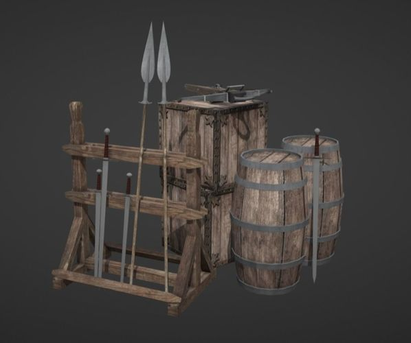 medieval props - lowpoly 3d model low-poly obj mtl fbx 1