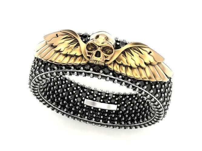 skull wings ring 3 3d model stl 3dm 1