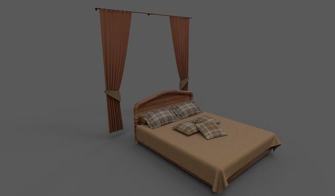 wooden bed 3d model fbx dae 1