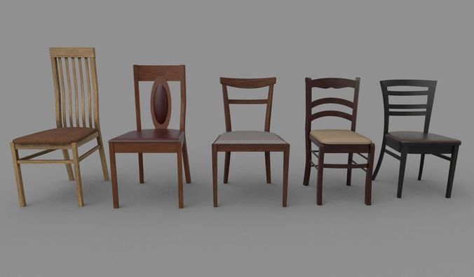 chairs set 3d model fbx dae 1