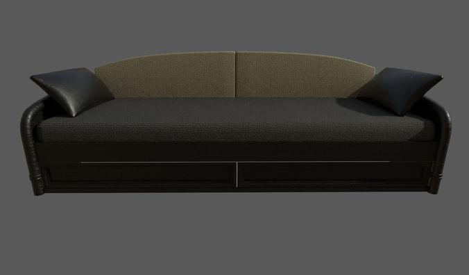 wooden sofa 3d model fbx dae 1