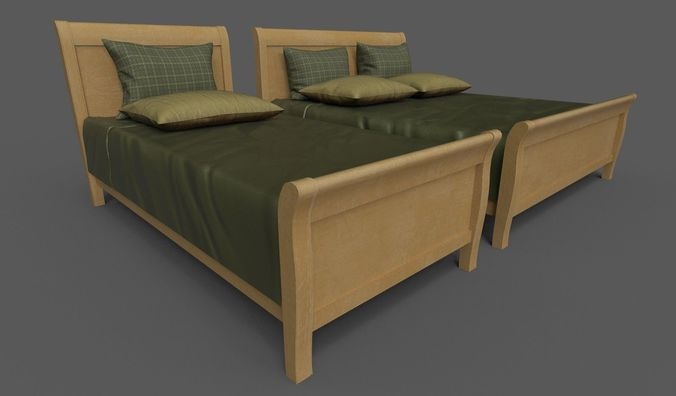 double and single bed 3d model fbx dae 1
