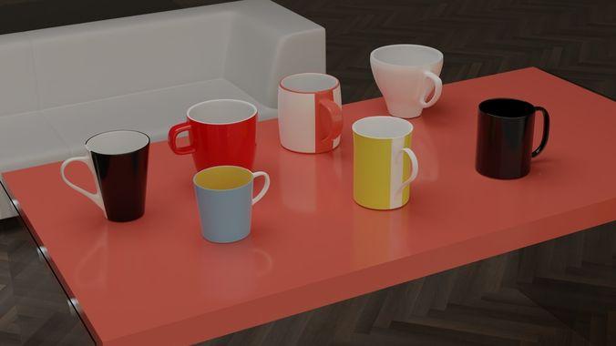 kitchen cups - vol1 3d model 3ds fbx blend 1