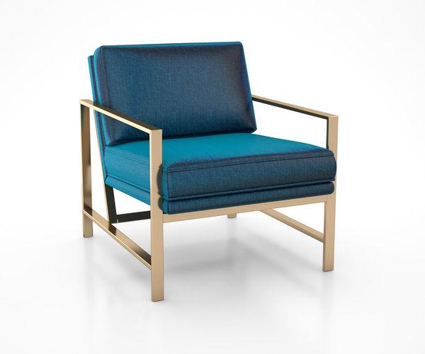 Metal Frame Upholstered Chair Celestial Blue By West Elm Model Max Obj Mtl Tga 1