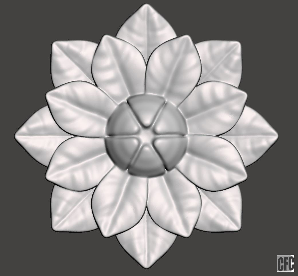 Flower relief for cnc and 3d printing FLCFC0H   3D Print Model