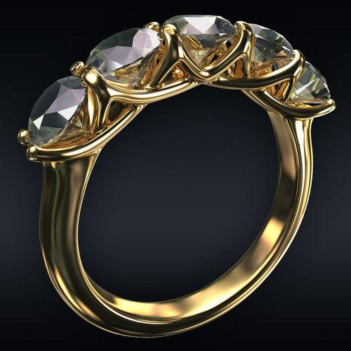 ring 5 round stones 3d model max obj mtl 3ds fbx stl 1