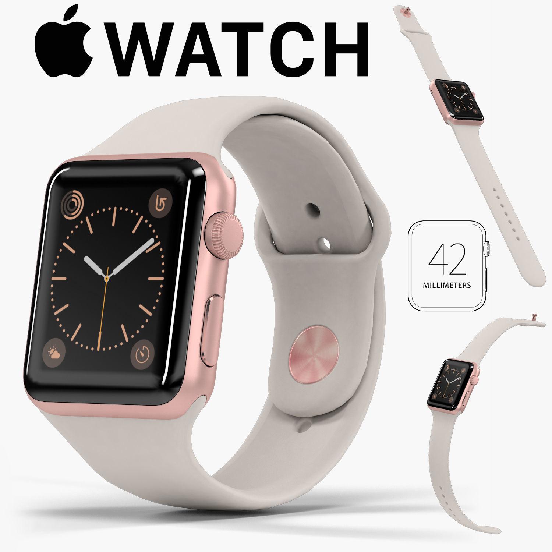 Apple Watch Rose Gold Aluminum Case Stone Sport Band