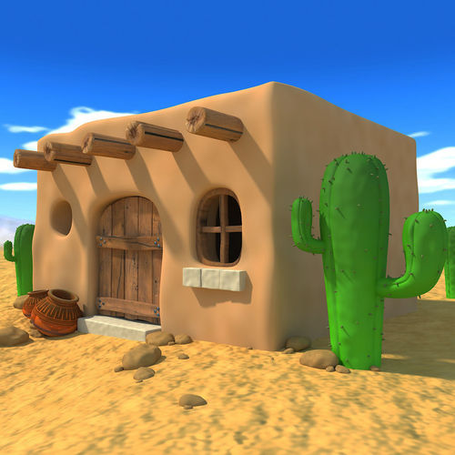 Cartoon Mexican House 3d Model Cgtrader