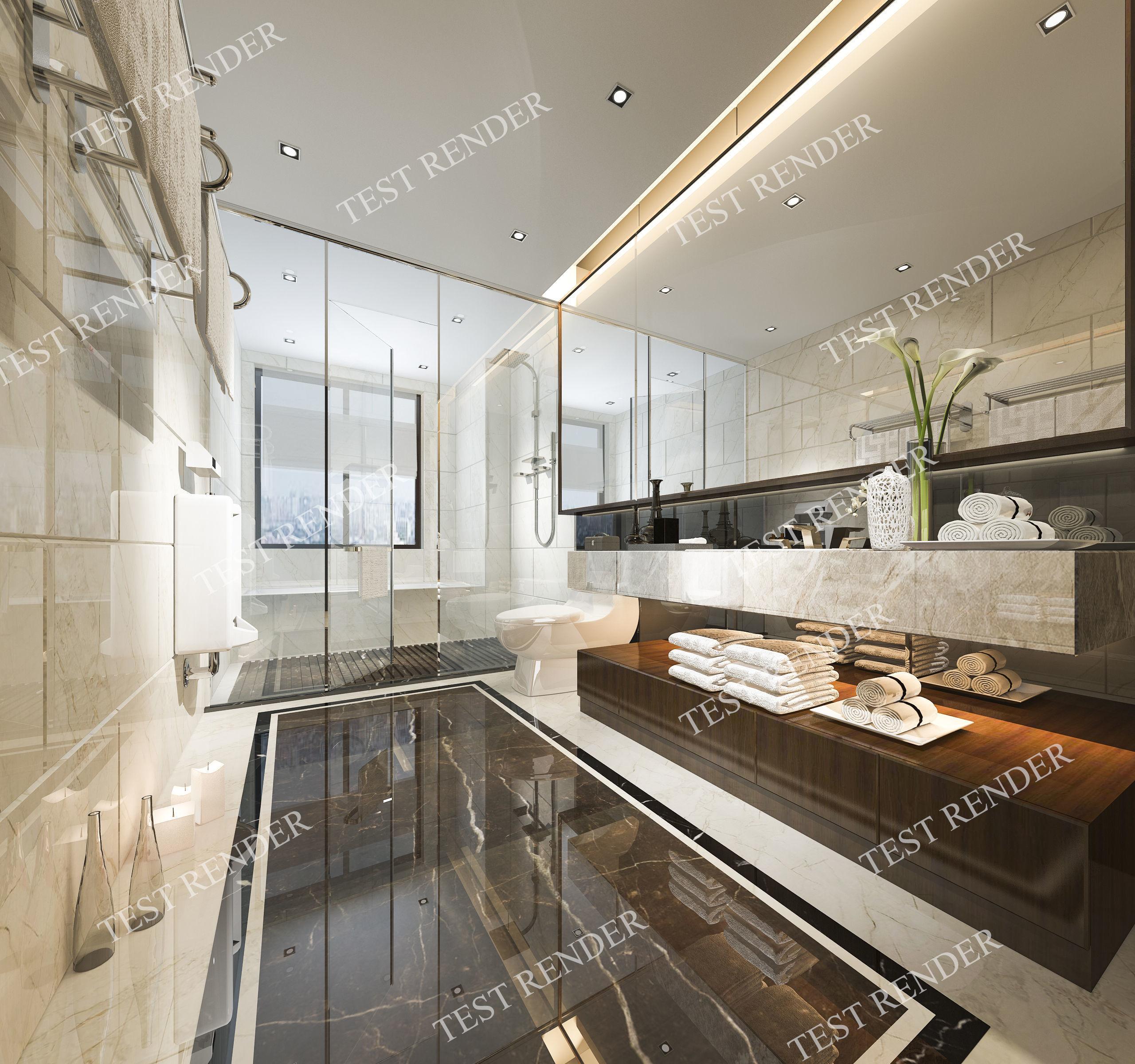 3D model Modern luxury marble toilet and bathroom