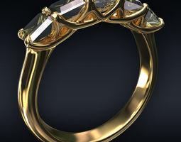 3D model Ring 5 square stones