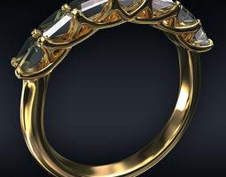Ring 7 square stones 3D diamond-ring