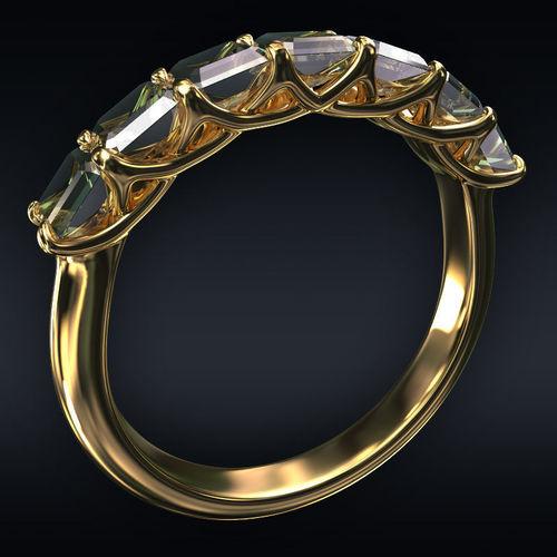 ring 7 square stones 3d model max obj mtl 3ds fbx stl 1