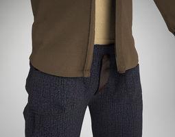 Male Pants Shirt Tank-Top 3D Model