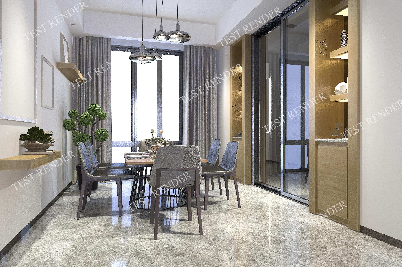modern dining room near decor shelf | 3D model