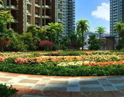 Residential community courtyard 007 3D model