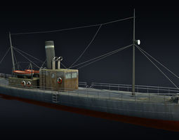 game-ready cargo ship 3d asset
